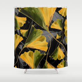 Yellow Ginkgo Leaves on Black Shower Curtain