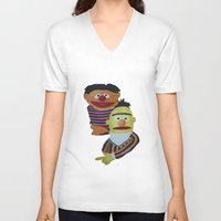 sesame street V-neck T-shirts featuring Sesame Street Bert and Ernie by ArtSchool