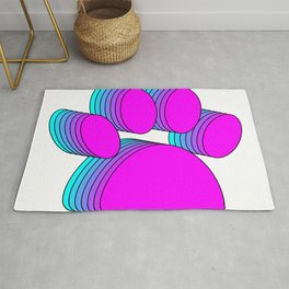 Pink And Blue Dog Paws Rug