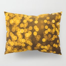 Gold Glitter Sparkle Bokeh Blurred Lights Shimmer Shiny Dots Spots Circles Out Of Focus Pillow Sham