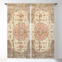 North-West Persia Tabriz Old Century Authentic Colorful Blush Peach Peachy Vintage Patterns Blackout Curtain