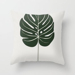 Split Philodendron Leaf Illustration Throw Pillow