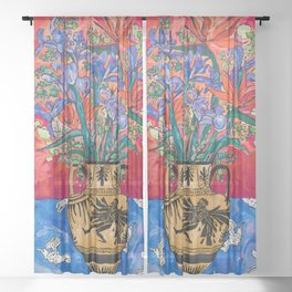 Icarus Floral Still Life Painting with Greek Urn, Irises and Bird of Paradise Flowers Sheer Curtain