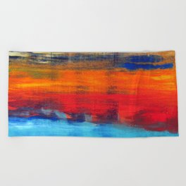 Horizon Blue Orange Red Abstract Art Beach Towel