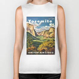 Yosemite National Park Vintage Travel Poster Landscape Illustration Biker Tank