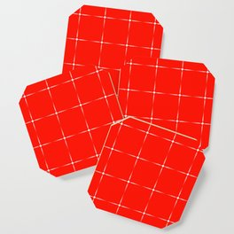 Iridescent monochrome transparent stars on a red background. Coaster