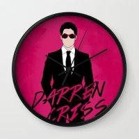 darren criss Wall Clocks featuring Pink Darren Criss by byebyesally