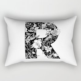 Floral Letter R Rectangular Pillow