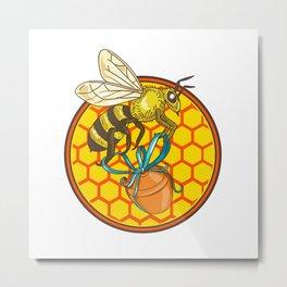 Bumblebee Carrying Honey Pot Beehive Circle Metal Print