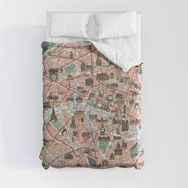 Vintage map of Paris Duvet Cover