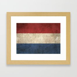 Old and Worn Distressed Vintage Flag of The Netherlands Framed Art Print