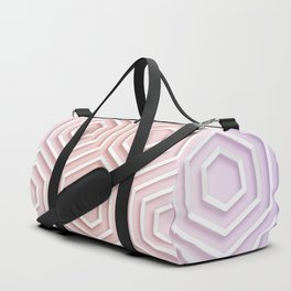 3D Hexagon Gradient Minimal Minimalist Geometric Pastel Soft Graphic Rose Gold Pink Duffle Bag