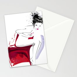 Naked Beauty, Nude Body, Fashion Painting, Fashion IIlustration, Vogue Portrait, Red colour, #14 Stationery Cards