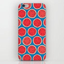 watermelon polka blue iPhone Skin