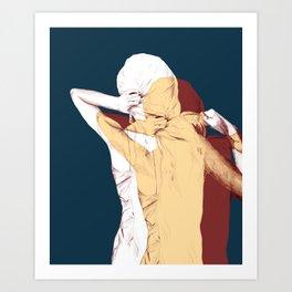 Brushing hair 2 Art Print