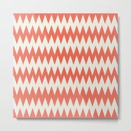 Pantone Cannoli Cream Soft Zigzag Pointed Rippled Horizontal Lines on Living Coral Metal Print