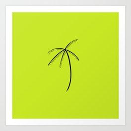 Palm Tree Illustration Neon Green Art Print