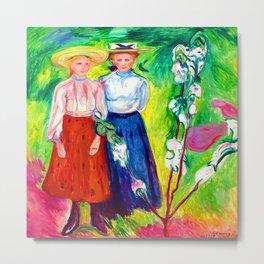 Edvard Munch Two Girls Under an Apple Tree in Bloom Metal Print