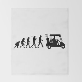 Evolution - golf  black&white Throw Blanket