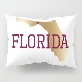 Florida Gold and Garnet with State Capital Typography Pillow Sham