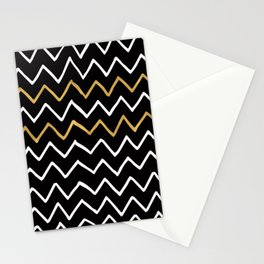 Writing Exercise - Simple Zig Zag Pattern- White Gold on Black - Mix & Match Stationery Cards