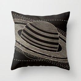 Black Saturn Throw Pillow