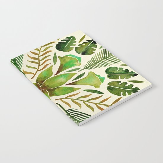 Tropical Symmetry – Olive Green Notebook