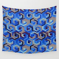 60s Wall Tapestries featuring Back in the 60s deep blue by MehrFarbeimLeben