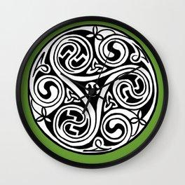 Celtic Art - Triskele - on Green Wall Clock