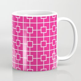 Rose Red Square Chain Pattern Coffee Mug