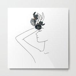 Minimal Line Art Woman with Flowers Metal Print