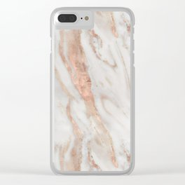 Rose Gold and White Marble 1 Clear iPhone Case