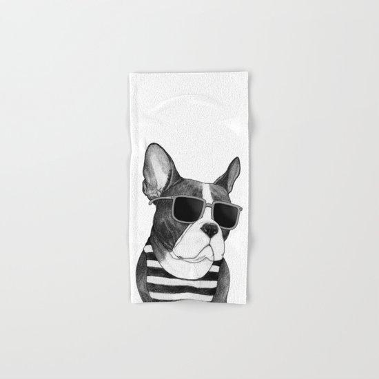 Frenchie Summer Style b&w Hand & Bath Towel