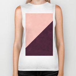 Modern blush pink burgundy watercolor color block geometric Biker Tank