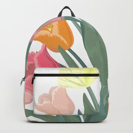 Bouquet of tulips in glass vase Backpack