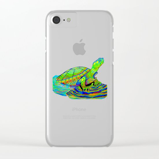 Neon Painted Turtle Clear iPhone Case