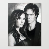 the vampire diaries Canvas Prints featuring The Vampire Diaries by MasterpieceDirect