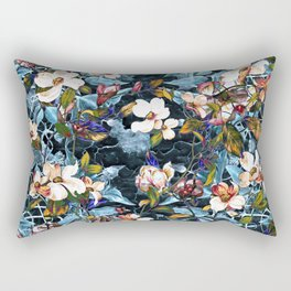 Dogwood and MagnoliaI (Turquoise)Pattern Rectangular Pillow