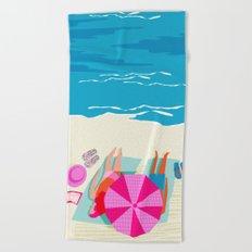 Toasty - memphis throwback minimal retro neon beach surfing suntan waves ocean socal pop art Beach Towel