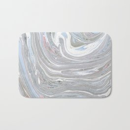 Abstract pink blue gray watercolor marble pattern Bath Mat