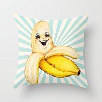 banana Throw Pillows featuring Banana by Kelly Gilleran