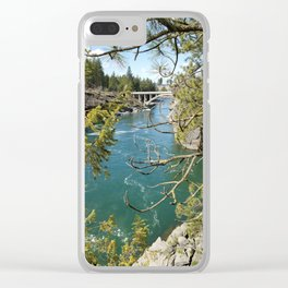 Beautiful Old Bridge Over The Spokane River, Trees, Water, Bridge Clear iPhone Case