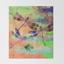 Mauritius Vintage Dragonflies Colours C Throw Blanket