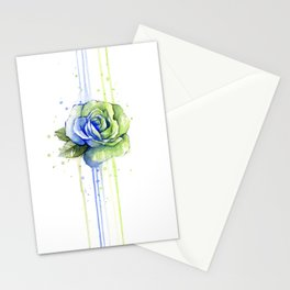 Flower Rose Watercolor Painting 12th Man Art Stationery Cards