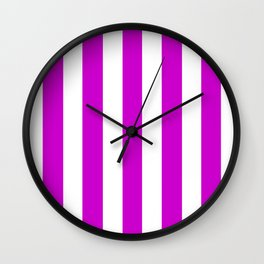Deep magenta violet - solid color - white vertical lines pattern Wall Clock