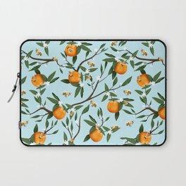 Bees, Oranges & Flowers - Light Blue Pattern Laptop Sleeve