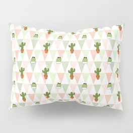 Hand painted pink coral green geometrical cactus Pillow Sham
