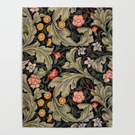 William Morris Laurel Multi-Colored Floral Textile Pattern Sunflower, Aster, Dahlia Poster