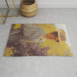Hans Gude Painting -  Ung Dame Med Syriner 1897  | Reproduction | Norwegian Art Rug