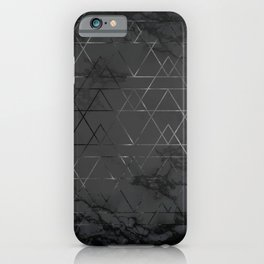 Silver Platinum Geometric Black Mable Triangle Pattern iPhone Case